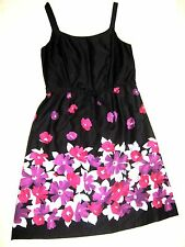 Black purple floral cotton calf length long flared tea dress 16/18 wedding Races
