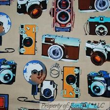 BonEful FABRIC FQ Cotton Quilt VTG Antique Brown B&W Tan Camera SLR Travel Photo