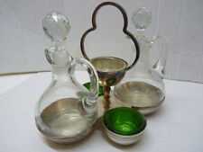Old Vintage Argentinian Cruet Set Silver-Plated Brass & Glass Inserts, Marked NR