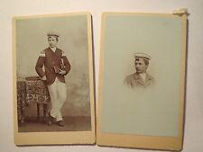 Mann in Uniform mit Musikinstrument - Trompete ? Posaune - Portrait / 2 CDV