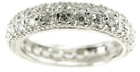 1.5 CT .925 STERLING SILVER PAVE WEDDING ETERNITY BAND RING SZ 5 6 7 8 9