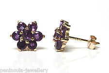 9ct Gold Amethyst cluster Studs earrings Gift Boxed Made in UK