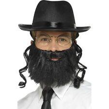 Men's Instant Rabbi Fancy Dress Kit Hat Hair Beard Glasses Jewish Religion Stag