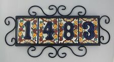 4 HIGH RELIEF Mexican Ceramic Number Tiles & Horizontal Iron Frame