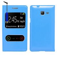 Housse Coque S View Case BLEU Samsung Galaxy Trend Lite S7390 S7392 + Stylet