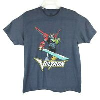 Voltron Defender Universe Vintage Retro Look Graphic Blue Tshirt Mens Size Large