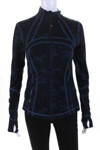 Lululemon Womens Nylon Long Sleeve Camouflage Jacket Blue Size 6