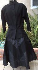 Vintage 50's Black Button-up Wool Blouse & Wool & Taffeta Skirt Set