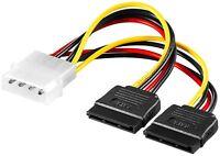 SATA Strom Kabel Adapter Stromkabel 1x 4 Pin Stecker auf 2x SATA Buchse 0,13 m