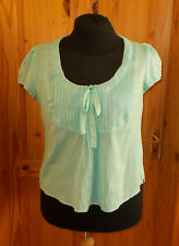 MONSOON aqua mint green pale turquoise short sleeve tunic top blouse 16 44