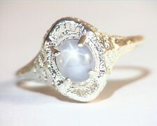 Star Sapphire Natural Genuine Gemstone in Starling Silver Lady,s Ring RSS,1101