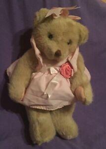 "VINTAGE ""DAKIN""  "" CHERISHED  TEDDIES""   JOINTED GIRL,,TEDDY BEAR.  [#B71a- 41)"