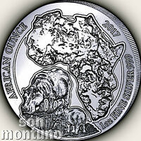 2017 Rwanda HIPPOPOTAMUS PROOF 1oz Silver African Hippo Wildlife Coin ONLY 1000