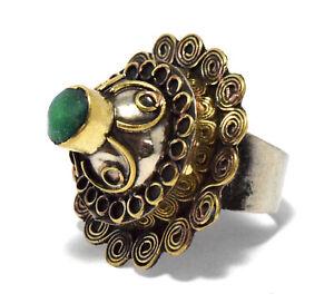 Afghan Kuchi Tower Ring Carved Ethnic Green Tribal Jewelry Boho Vintage Bohemian