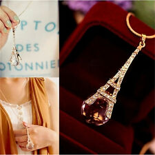 New Womens Paris Eiffel Tower Transparent Crystal Ball Pendant Long Necklace JR