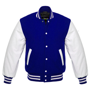 Varsity Royal Blue Letterman Wool Jacket with White Real Leather Sleeves XS-4XL