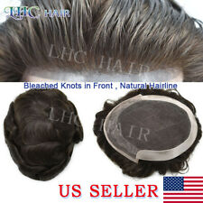 French Lace Mens Toupee Hair System Bleached Knot Poly Transparent Replacement