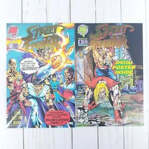 Street Fighter #1 & #2 Gold Ediitons, Malibu Comics 1993, Len Strazewski, VF/NM