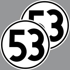 2 Aufkleber 15cm Herbie Nr 53 Start Nummer Ziffer Zahl Racing Auto Motor Sport
