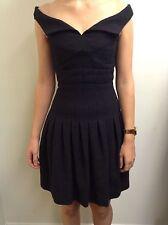 Chanel Portrait Collar Box Pleat Black Dress, Size: 34
