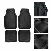 Solid Black 2 Tone Floor Mats For Auto Car SUV Van All Weather Universal Fit