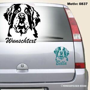 Bernhardiner Autoaufkleber 15cm mit Wunschtext / Name Aufkleber Hundeaufkleber