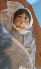 "Lee Middleton Baby Doll 14"" Vinyl & Cloth Preemie ""baby blue' w/bible"