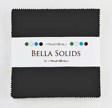 "Bella Solids BLACK Charm Pack Moda Precut 5"" Squares Cotton Quilting Fabric"