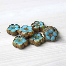 2 Czech Glass Beads 16mm Larger Flower Turquoise Brown Tones - Cb054