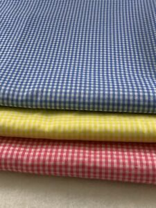 Lot of 3 Fabric Remnants White,BLUE/ YELLOW/PINK Checks, Cotton Blend, Sewing