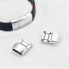 5 Sets Shiny Silver Curvature Strong Magnetic Clasp Fit 10*2mm Flat Leather Cord