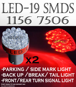 4pc 1156 1093 1259 LED 19 SMD Super Red Fit Rear Turn Signal Light Bulb D140