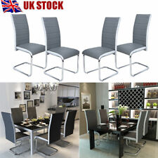 Panana 4x Faux Leather Dining Chairs High Back and Chrome Legs Grey & White Side