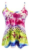 Women's ladies pink tie dye print cami vest flared colourful top PLUS SIZE 8-26