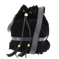 GUCCI GG Fringe Shoulder Bag Black Suede Leather Vintage Italy Auth #RR259 S