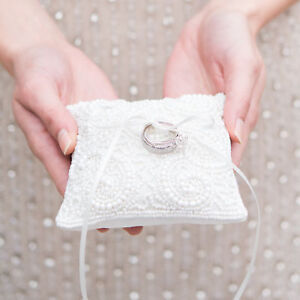 Ring Cushion White Wedding with Faux Pearl and Bead Design
