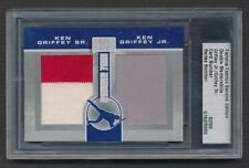2010 FAMOUS FABRICS KEN GRIFFEY JR & SR DOUBLE COLORED GAME USED JERSEYS # 2/9