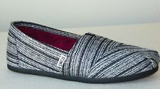 Toms Classis Silver Metallic Stripe Slip-On Shoes  Black  Size: 6