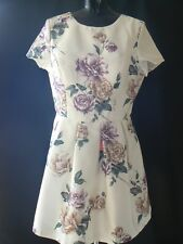 CHI CHI LONDON Cream Floral Skater Dress V Cut Out Back UK Size 16 NEW TAGS