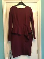Jane Norman Peplum Burgundy Wiggle Dress Size 10 Long Sleeved