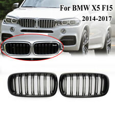 For 2014-2017 BMW X5 X6 Series F15 F16 Gloss Black Dual Slats Kidney Front Grill