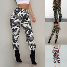 Women Ladies Camo Cargo Trousers Baggy Hip Hop Pants Military Army Combat Hiking
