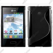 Housse Etui Coque Silicone Motif S-line Gel Souple Noir LG Optimus L3 E400