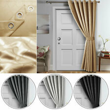 Eyelet Ready Made Door Curtain Set With Tie Back Blackout Energy Saving Curtain