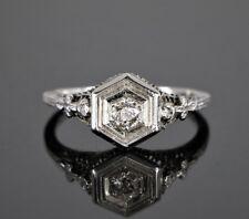 Estado Vintage 18k Oro Blanco 0.25ct Diamante Redondo Anillo de Compromiso Banda