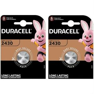 2 x Duracell CR2430 3V Lithium Coin Cell Batteries DL2430 - Expiry 2029
