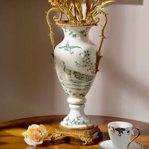 48cm Chinoiserie  Chinese Porcelain Peacock Brass Urn Vase Pot Ginger Jar