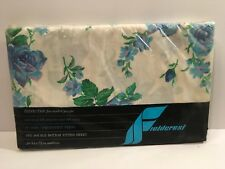 Fieldcrest Peace Rose Double Fitted Sheet Full Blue NOS USA Made
