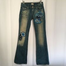 People For Peace Womens Denim Blue Jeans 26 Embroidered Rhinestones Bootcut 1J7