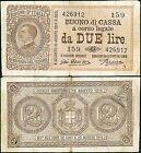 Buono di Cassa da 2 Lire 16/11/1922 Giu. Dell'Ara - Porena